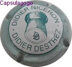 Capsule de Champagne DESTREZ Didier NICERON Didier 20. blanc et bleu striée
