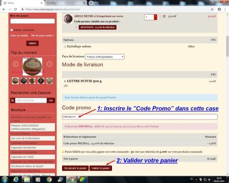 Utilisation code promo et points de fidelites 5