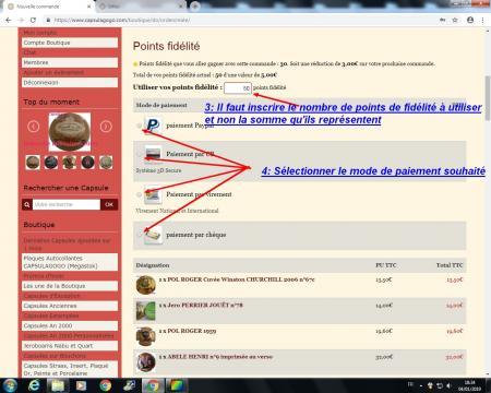 Utilisation code promo et points de fidelites 6