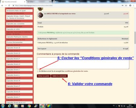 Utilisation code promo et points de fidelites 7